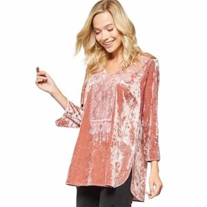 Andree by Unit Velvet Embroidered Tunic Top 2X